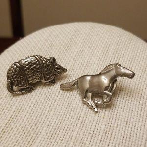 Vtg. Horse, & Armadillo Pins